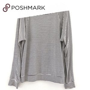 Joan Vass Black and White Striped Long Sleeve Top